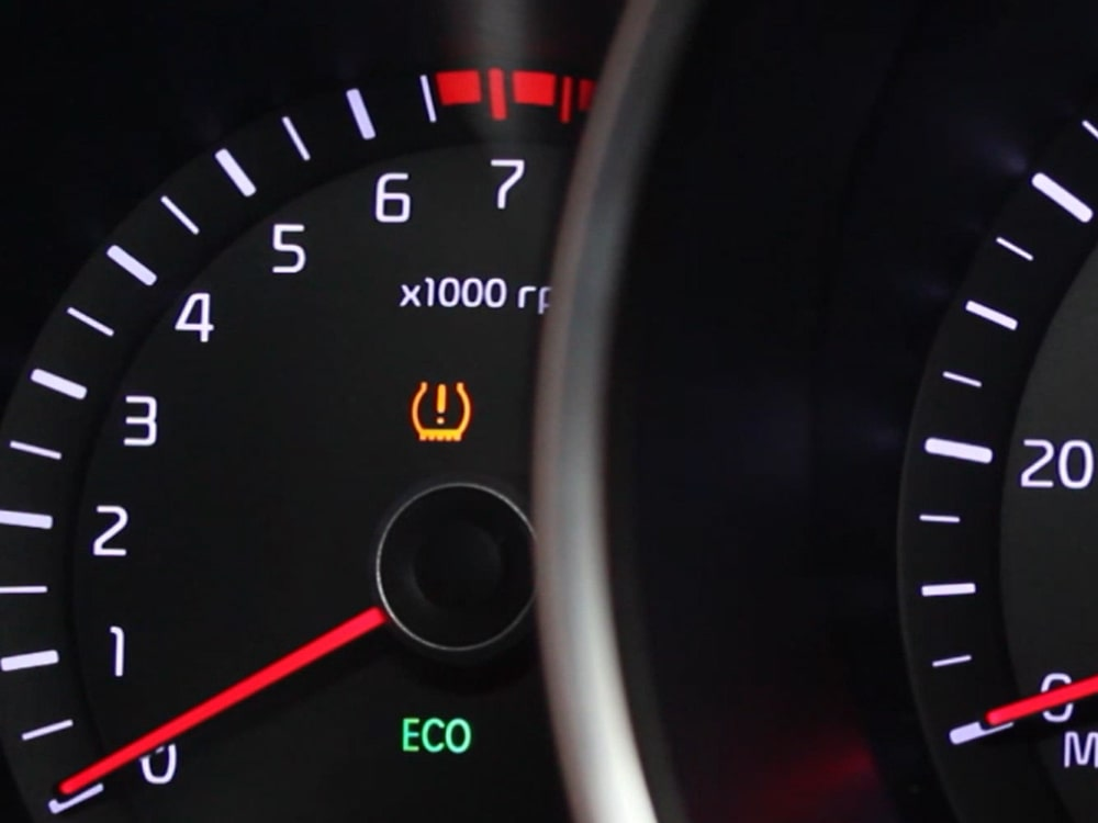 TPMS light illuminated in car instrument panel