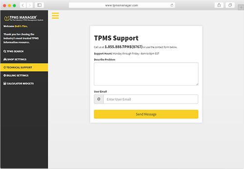 TPMS Manager support screenshot